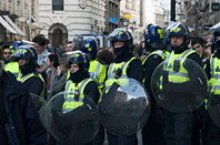Riot police in London. Pic: Steve Jackson