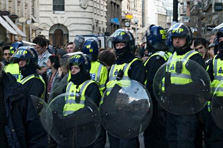 Riot police in London. Pic: Steve Jackson