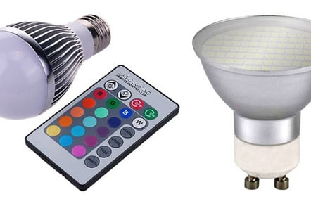 The LED globe, left, uses a basic IR remote, while the GU10s are much cheaper to run than the halogen's they replaced