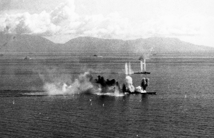The Musashi under attack on 24 October 1944