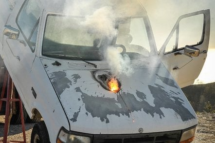 A truck disabled by Lockheed Martin's ATHENA laser