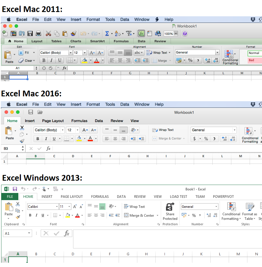 The ribbon toolbar in Excel 2011, Excel 2016 and Excel 2013