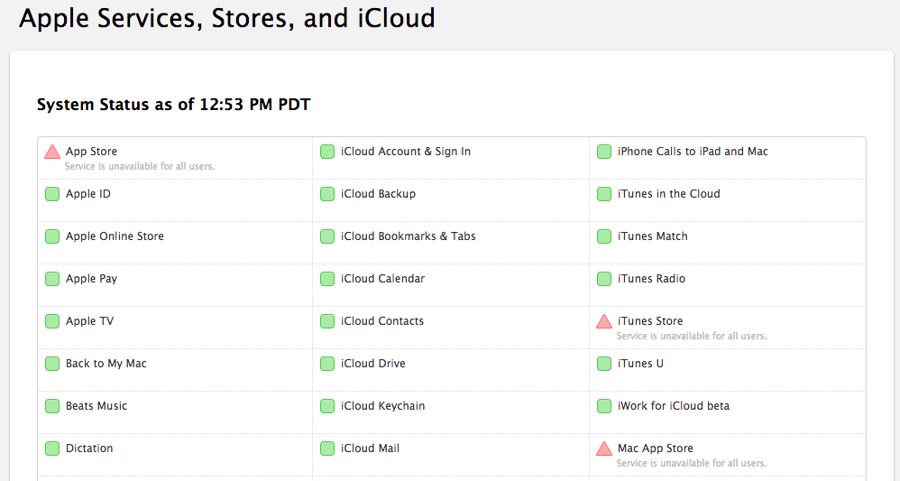 Screenshot of Apple's status page
