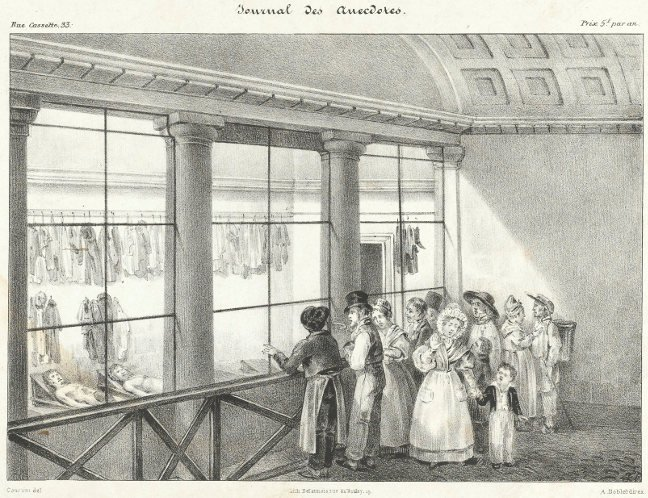 Postcard of French women gazing into a morgue