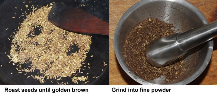 Roast seeds and then grind into powder