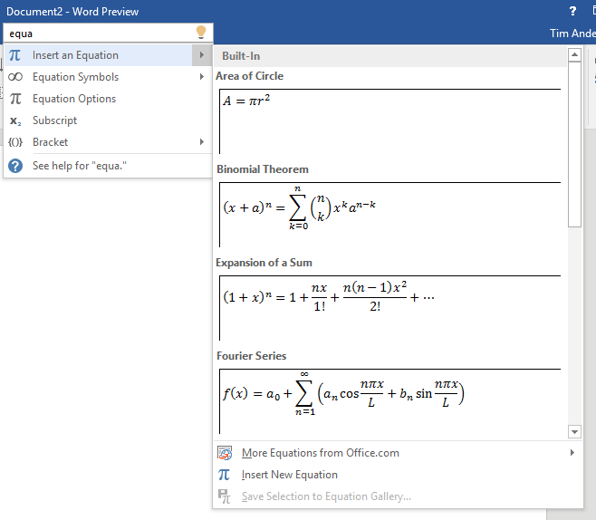 """Using """"Tell me"""" to insert an equation"""