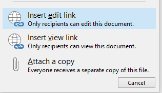 The new Attach Item dialog in Outlook