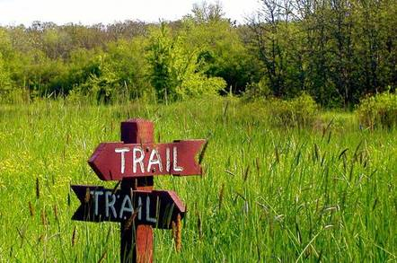 sign post pointing to trail in two different directions