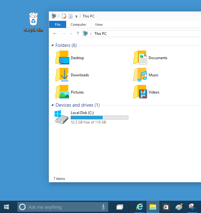 New icons in Windows 10