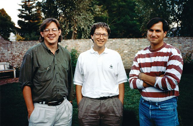 Brent Schlender with Bill Gates and Steve Jobs