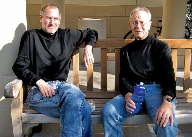 Steve Jobs with Andy Grove at Stanford University in 2007