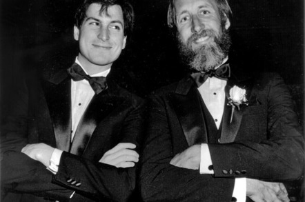 Steve Jobs and Chiat/Day's Lee Clow at an advertising awards show that honoured the Apple '1984' Superbowl ad.