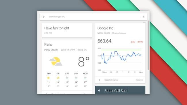 Chrome OS gets Google Now injection. Pic: Google's François Beaufort