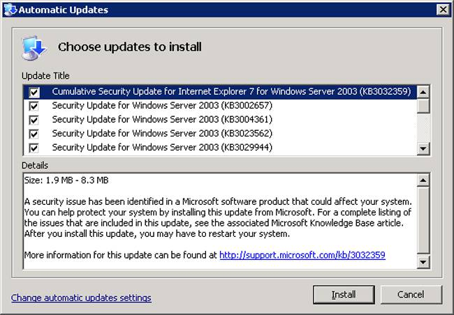 Windows Server 3002 updates