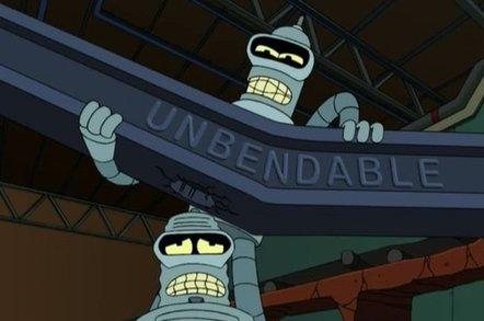 Bender the robot from Futurama bends an unbendable girder