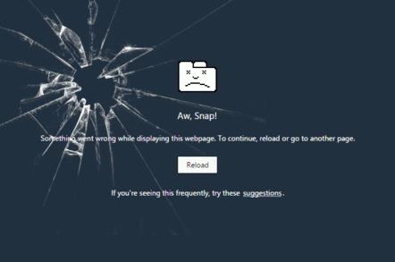 "Screenshot of Chrome's ""Aw, snap!"" error message"