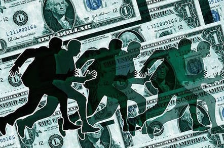 A bunch of shadow people leg it across a backdrop of dollar bills (conceptual illustration)
