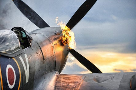 Supermarine Spitfire firing up. SAC Graham Taylor/Crown copyright