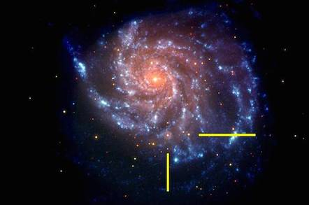 Galaxy M101 shown with bars indicating location of supernova SN 2011fe. Image credit: NASA/Swift