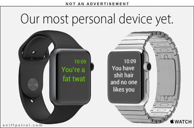 Spoof Apple Watch ad. Courtesy sniffpetrol.com