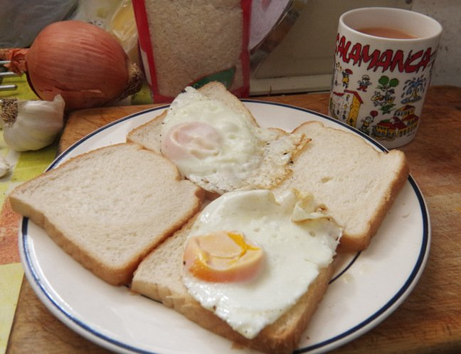 Two eggs sarnies and a mug of tea