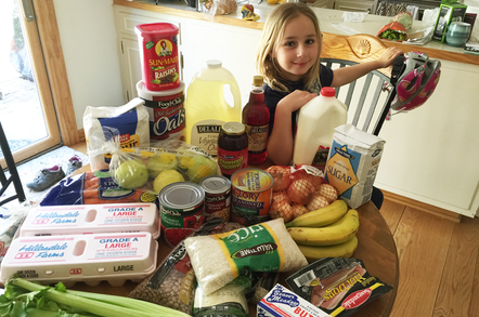 Richard's daughter Zinta and the family's food stockpile