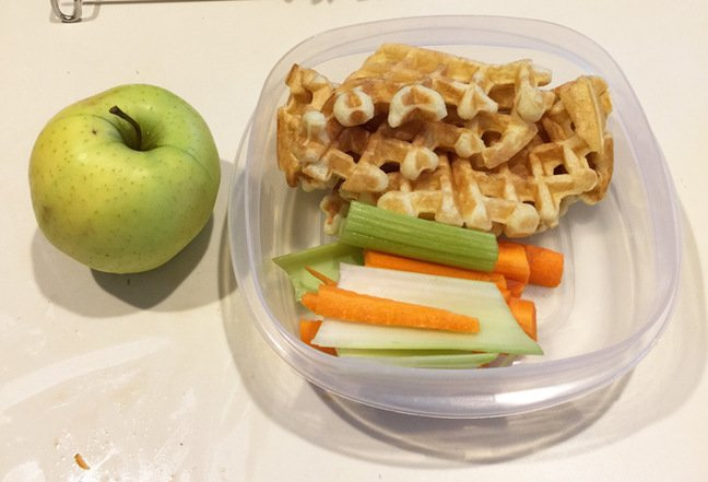 Waffles, apple and salad for lunch
