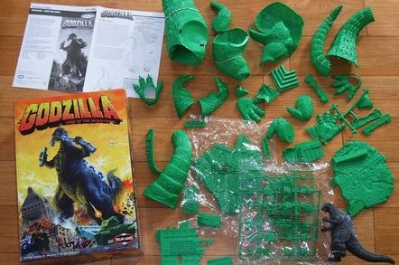 Godzilla toy in pieces