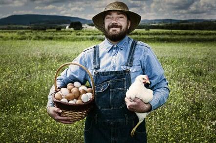 Free range chicken and farmer photo via Shutterstock