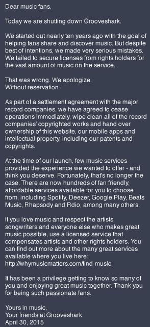Grooveshark closure message