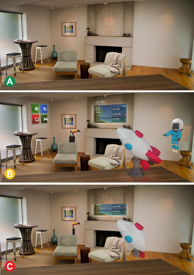 Simulated views of the world as seen through HoloLens