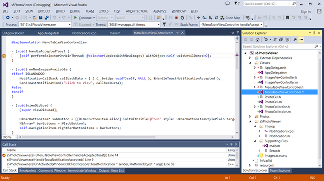 Debugging an Objective C app in Visual Studio