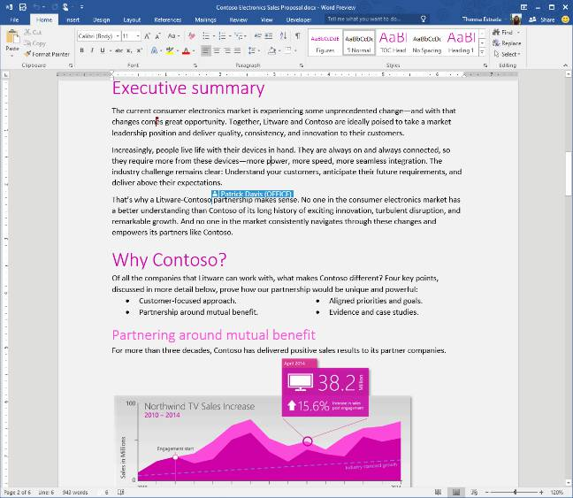 Collaborative working with Word 2016