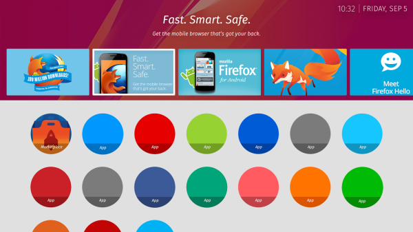 The apps screen in Firefox OS for televisions