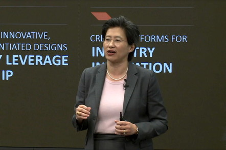AMD CEO Lisa Su speaking at the firm's 2015 financial analyst day