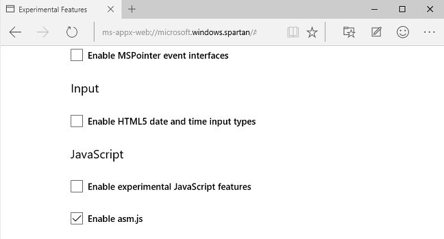 Screenshot showing the Asm.js option in Microsoft Edge browser