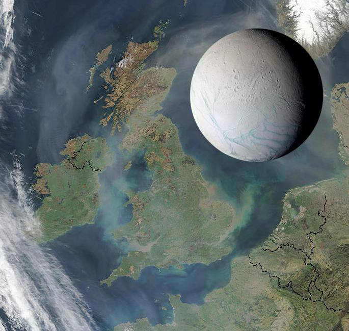 The moon Enceladus is comparible in size to the UK