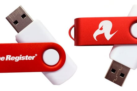 The two sides of the USB stick, showing the Register branding
