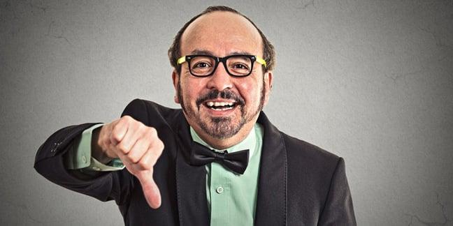 Man thumbs down, image via Shutterstock