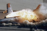 Passenger plane exploding on the gournd