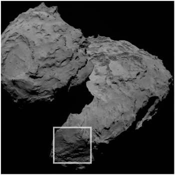 The three curious boulders are found in the Aker region of Comet 67P/C-G, on the comet's large lobe (in the centre of the region outlined). Credits: ESA/Rosetta/MPS for OSIRIS Team MPS/UPD/LAM/IAA/SSO/INTA/UPM/DASP/IDA
