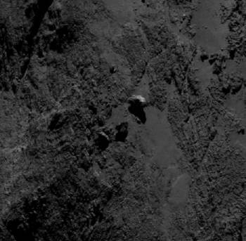 mage of the boulders taken by OSIRIS on 19 September 2014 from a distance of about of 29 km. The image scale at this distance is about 0.5m/pixel and the image measures about 285 m across. Boulder 3 measures approximately 30 m across. Credits: ESA/Rosetta/MPS for OSIRIS Team MPS/UPD/LAM/IAA/SSO/INTA/UPM/DASP/IDA