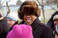 Jay Z wearing a silly hat at President Obama's inauguration.