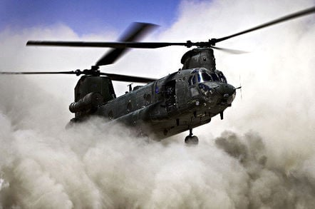 RAF Chinook throws up dust cloud. Pic: MoD under Open Government Licence