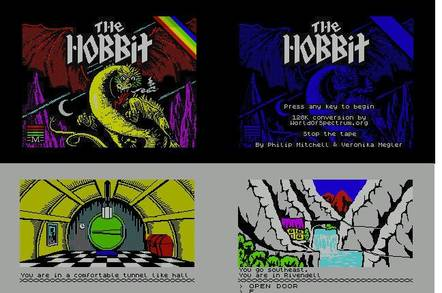 Screen shots from The Hobbit re-made for the Spectrum 128K