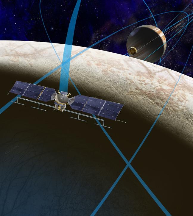 Artist's impression of spacecraft orbiting Jupiter and Europa