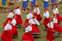 Estonia folk dancers in traditional costume