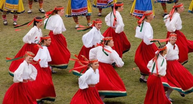 Estonia folk dancers in traditional costume