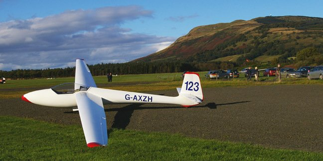 Martin's glider on the ground at the Scottish Gliding Union's airfield at Portmoak