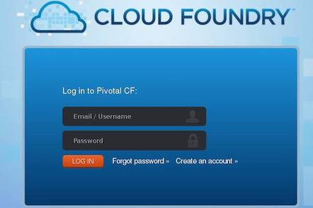 Cloud foundry login screen